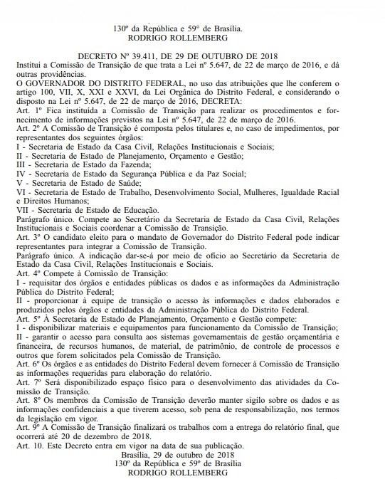 Criada Comissão de Transição. Relatório final será entregue em 20/12