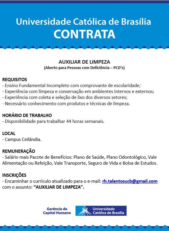 UCB Contrata Auxiliar de Limpeza (PCD's) – 26.10.218