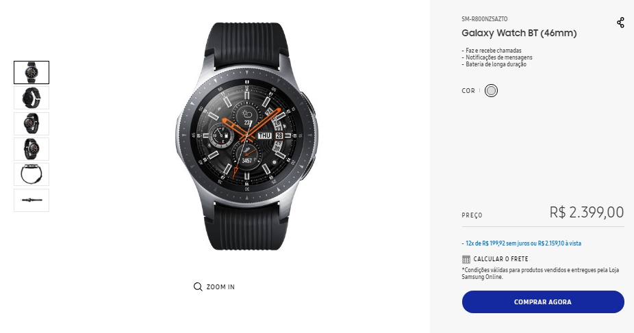 Galaxy Watch começa a ser vendido no Brasil
