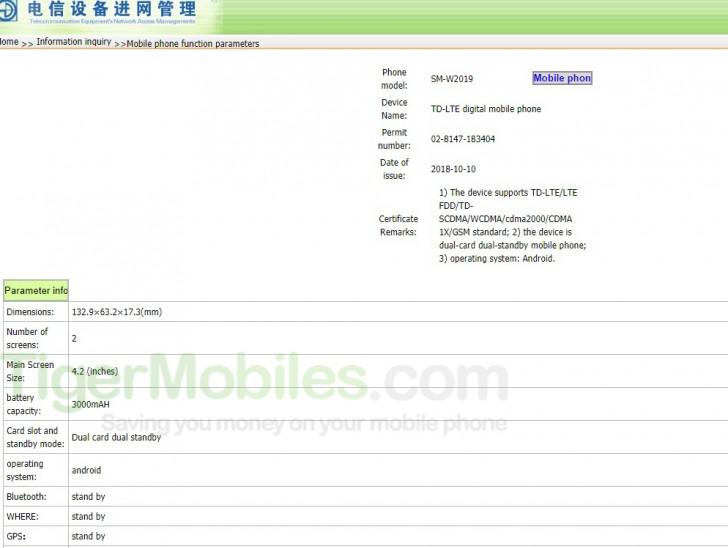 Samsung Galaxy W2019 chegará com duas telas e uma bateria de 3.000mAh
