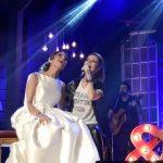 De noiva, fã deixa casamento e sobe no palco de Sandy para realizar sonho
