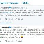 No Twitter, Bolsonaro repudia atentado terrorista na Colômbia